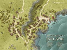 Urban Village of Jarlang coastal Settlement Map FantasyMaps med Fantasy City Map, Fantasy Town, Map Design, Game Ui Design, Village Map, Urban Village, Pen And Paper Games, Rpg Map, Dungeon Maps