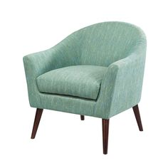 This chair flaunts its mid-century styling with its streamlined curves, graceful rounded tight back and a whisper of a track arm.