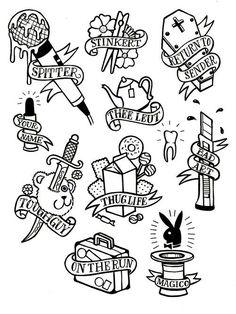 Tattoo Kunststile: Old School Tattoo Flash Art für Männer - diy tattoo - Tattoo Flash Art Tattoos, Body Art Tattoos, Tatoos, Tattoo Flash Sheet, Arabic Tattoos, Tattoo Old School, Old School Tattoo Designs, Tattoo Sketches, Tattoo Drawings
