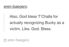 T'Challa recognizing Bucky as a victim