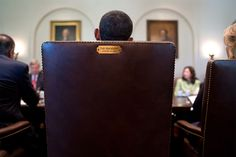 """""""A view from behind the President's chair during a Cabinet meeting in the Cabinet Room."""" (Official White House Photo by Pete Souza)"""