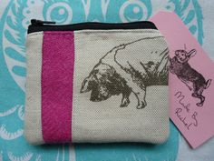 Handmade Card Coin Purse Pouch Emily Bond Pig Piggy Linen Pink Harris Tweed in Clothes, Shoes & Accessories, Women's Accessories, Purses & Wallets | eBay