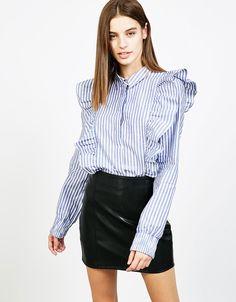 Stripes and frill shirt - null - Bershka Spain
