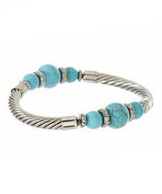 Look what I found on #zulily! Silver & Turquoise Three-Stone Stretch Bracelet by Fantasy World Jewelry #zulilyfinds