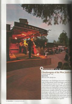 American Cowboy Magazine ranks the Flying W Ranch and the Chuckwagon Association of the West Jamboree in September as the Editors Pick for things to do in 2012. Pick up your copy of American Cowboy Magazine at Barnes and Noble today