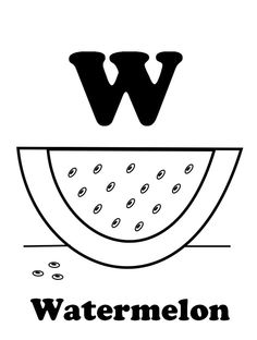 w is for watermelon fruit coloring pages