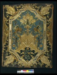 This leather panel was one of a set of four which the Museum bought from the Paris International Exhibition in 1855.The four panels show different stages of production, or different varieties of decoration, from the first moulded design, with no colour, to the finished state, with the stamped decoration covered partly in metal foil which is varnished to give the effect of gold leaf, and partly with colourful paints and varnishes. ca 1855, Paris | Dulud, Jacques Michel | V Museum, London