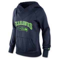 Women's Nike Seattle Seahawks NFL Wildcard All Time Rib Hoodie | FinishLine.com | College Navy/Action Green