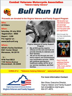 Manassas, VA - July 23, 2016: Bull Run III motorcycle ride. Proceeds support Virginia Department of Veterans Services. They support vets and their families on the road to recovery from the effects of stress-related injuries, such as PTSD or TBI.