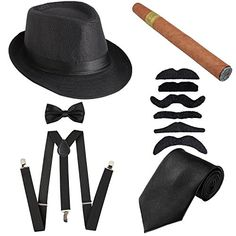 e9c7db7150d652 Discounted KaKaxi 1920s Mens Costume Accessory - Manhattan Fedora Hat,  Y-Back Suspenders &