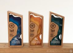 Laser Etching & Router Cutting Archives - Page 3 of 15 - Potato Press - Trend Award Design 2019 Signage Board, Park Signage, Wayfinding Signage, Signage Design, Diy Trophy, Acrylic Trophy, Custom Trophies, Acrylic Awards, Trophy Design