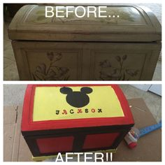 MICKEY MOUSE TOY BOX from an old chest