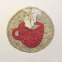Embroidered felt patch series, latte. #embroidery #felt #coffee #handmade Whittling, Latte, Patches, Felt, Kids Rugs, Embroidery, Coffee, Handmade, Home Decor