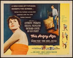 This Angry Age (1957) Stars: Silvana Mangano, Anthony Perkins, Richard Conte, Jo Van Fleet, Nehemiah Persoff, Alida Valli ~ Director: René Clément (Nominated for 4 Awards from the Italian National Syndicate of Film Journalists 1958)