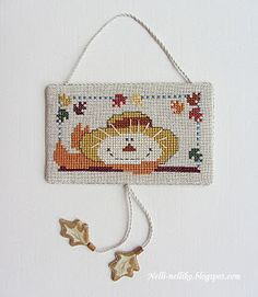 Autumn/leaves/scarecrow cross stitch flat ornament