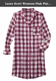 a41ef56e33 Laura Scott Womens Pink Plaid Flannel Nightgown Sleep Shirt Night Gown.  This pretty pink plaid