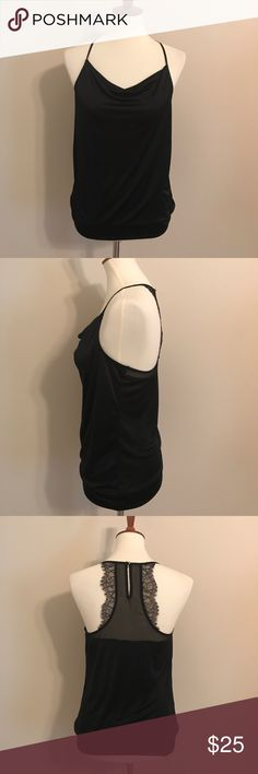 Express Silk Tank Top Super soft & comfortable Express Tank Top with back Lace Accent. Wore one time. Size S Express Tops Tank Tops