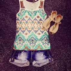 Sequin aztec tank, miss me shorts, & sandals all super cute!!! available at my favorite boutique store! Buy at flourishboutique.com