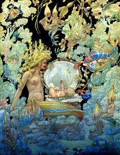 It highlights a beautiful mermaid tending to her new baby born in a clam shell. Water cherubs look on with fish and other sea creatures. The rich deep tones add to the delight of this fanciful illustration. Vintage Mermaid, Mermaid Art, Alphonse Mucha, Fantasy Kunst, Fantasy Art, Ocean Canvas, Mermaids And Mermen, Fantasy Mermaids, Vintage Canvas
