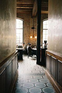A peek into Reynard Restaurant in the Wythe Hotel, Williamsburg. Modern Restaurant, Restaurant Interior Design, Cafe Restaurant, Cafe Bar, Cafe Shop, Deco Design, Cafe Design, House Design, Commercial Design
