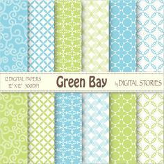 Turquoise Green Arabesque Digital Paper Pack BUY 2 GET 1 FREE Green Bay - Instant Download