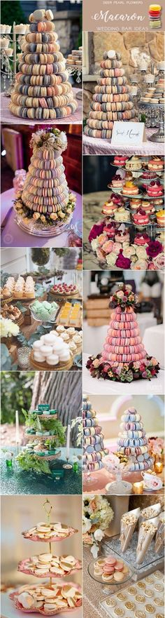 Macaron wedding dessert food bar ideas for wedding reception / http://www.deerpearlflowers.com/wedding-catering-trends-dessert-bar-ideas/2/