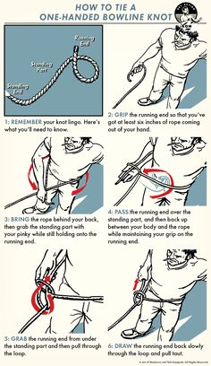 How to Tie a One-Handed Bowline Knot Camping Diy, Bushcraft Camping, Camping Survival, Ultralight Backpacking, Camping Outdoors, Camping Ideas, Camping Hacks, Paracord Knots, Rope Knots