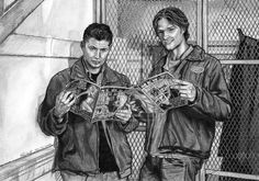 Sam and Dean - http://lupinemagic.deviantart.com/art/Weekly-World-News-148603976?q=gallery%3Alupinemagic%2F24396059&qo=40