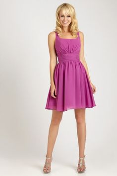 2013 Ruching Pleats Square Neck Chiffon Short A-line Bridesmaid Dress
