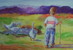 "Oils - AN ORIGINAL LOUIS PRETORIUS:""Drinking from the pond"" (730mm x 490mm) for sale in Cape Town (ID:157038397)"
