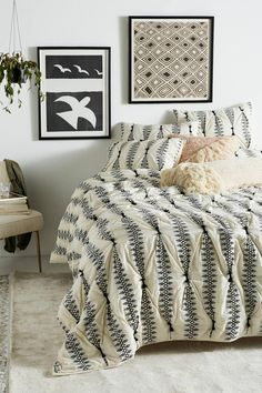 Embroidered Lilou Quilt by Anthropologie in Grey Bedding Home Bedroom Design, Glam Bedroom, Bedroom Sets, Home Decor Bedroom, Master Bedroom, Bedroom Black, Cozy Bedroom, Dorm Bedding, Quilt Bedding