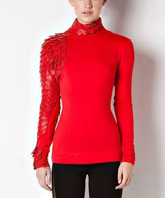 Another great find on #zulily! Red Faux Leather Feather Turtleneck by CQ #zulilyfinds