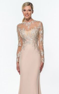 Terani Couture evening This seductive evening has a high neckline with full sleeves. The beaded fabric. Fitted waist straps give a sensational look. Cocktail Dress 2017, Cocktail Dresses With Sleeves, Long Formal Gowns, Formal Dresses, Elegant Dresses, Beautiful Dresses, Bridal Dresses, Prom Dresses, Dresses 2016
