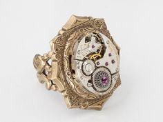 Steampunk Ring silver watch movement gears purple crystal gold brass filigree jewelry  #SteampunkRing #SteampunkJewelry #SteampunkJewelrybyMariaSparks