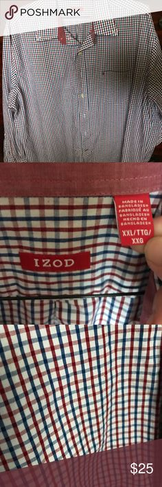 "Izod XXL long sleeve check button up Sharp dress button up. Maroon, Navy and White check. Measurements are armpit to armpit 27"" shoulder to bottom 31"" sleeves 25"". Like new condition. Fresh laundered smoke/pet free. Izod Shirts Dress Shirts"