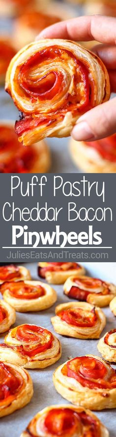Puff Pastry Bacon Pinwheels with Cheddar ~ Easy and Fast Puff Pastry Appetizer with Bacon and Cheese! Perfect for Parties and Family Gatherings! ~ http://www.julieseatsandtreats.com