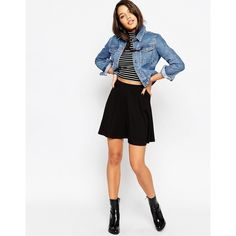 ASOS Skater Skirt with Pockets ($26) ❤ liked on Polyvore featuring skirts, mini skirts, black, black circle skirt, black skirt, short black mini skirt, circle skirt and high waisted skirts