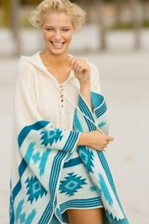 Cashmere Poncho with Blue Aztec by Letarte Swimwear 9526d762d015