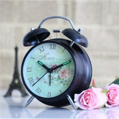 Vintage Retro Twin Bell Round Alarm Clock with Nightlight- Chinese Rose - Blue Products- - TopBuy.com.au