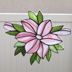 Stained Glass Pink Lily Suncatcher by FoxStainedGlass on Etsy