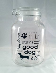 Custom Dog Treat Jar  Choose your dog's silhouette by HomemadeRustic on Etsy