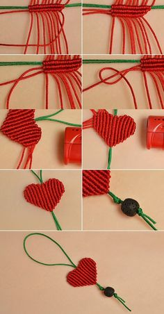 Like the red braided heart hanging ornament?The tutorial will be published by LC… – Macrame Bracelets Macrame Owl, Macrame Knots, Micro Macrame, Macrame Jewelry, Macrame Bracelets, Macrame Necklace, Diy Necklace, Diy Bracelets Easy, Bracelet Crafts
