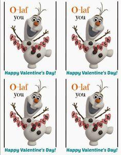Olaf Valentine's Day idea #freeprintable