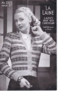 Free Knitting Pattern – La Laine Fair Isle Cardigan – Vintage Knitting Pattern Archive The Effec Fair Isle Knitting Patterns, Fair Isle Pattern, Knit Patterns, Vintage Patterns, Crochet Pattern, Free Pattern, Sewing Patterns, Knitting Paterns, Vintage Knitting