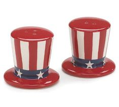 USA Flag Salt and Pepper Shakers Patriotic Uncle Sam Hats