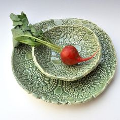 A lace embossed dip bowl and serving platter in a rich Celadon Green glaze- how fun is this 2 piece set! I call this pattern Nanas Lace, as it was made by