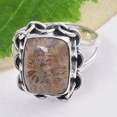 925 SOLID STERLING SILVER AMAZING FOSSIL CORAL LADIES RING 4.91g DJR5246 #Handmade #Ring