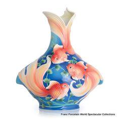 FZ02723 Franz Porcelain Goldfish blue large vase Ltd 1688. Special Order Only!