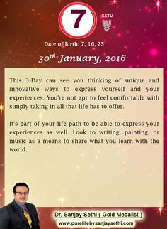#Numerology predictions for 30th January'16 by Dr.Sanjay Sethi-Gold Medalist and World's No.1 #AstroNumerologist.