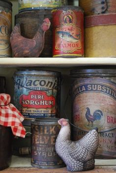 Roosters add interest to this collection of tins